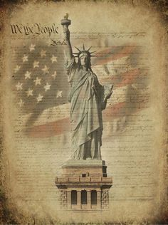 Constitution with Statue of Liberty by Brent Borup He is a really good artist and I like his work A LOT! I Love America, God Bless America, America Pride, American Flag, American History, American Symbols, Patriotic Pictures, Independance Day, In God We Trust