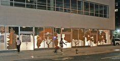 Window drawing, 'Treescreen, cardboard trees', 126th st/Lexington, NYC, 15 x 200 feet