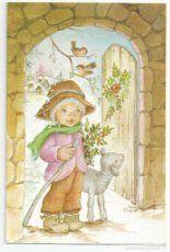 Postal Navidad pastor con oveja Ilus.Nuria Baró