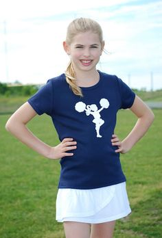 Little Cheerleader Nostalgic Graphic Tee in classic navy/white, $20.00