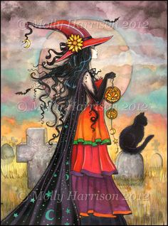 ACEO Witch Way Halloween Art  LE Print by by MollyHarrisonArt, $5.00
