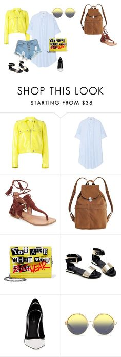 """""""Gold blue"""" by explorer-14603194782 ❤ liked on Polyvore featuring Courrèges, Acne Studios, Sigerson Morrison, BAGGU, Jimmy Choo, Greymer and Matthew Williamson"""