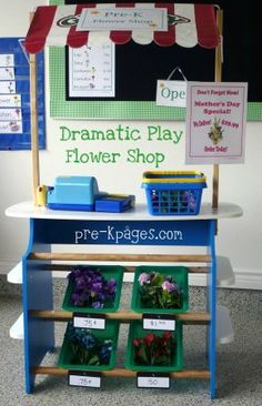 A flower shop dramatic play theme for your preschool, pre-k, or kindergarten classroom. Transform your dramatic play center into a flower shop! Dramatic Play Themes, Dramatic Play Area, Dramatic Play Centers, Preschool Centers, Preschool Classroom, Preschool Activities, Activity Centers, Preschool Learning, Indoor Activities