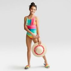 Girls' Stripey Days One Piece Swim Suit - Cat & Jack™ Pink