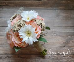 Shabby Chic Wedding Bouquet. Daisy and Rose Wedding Bouquet with Burlap by blueorchidcreations