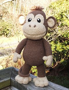 Large Baby Monkey - this one is about 16inches tall - not clear if it can actually stand on it's own or if it's just photographed that way. Probably depends on my stitches and how much stuffing is used.
