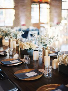 Lovely navy and gold table setting