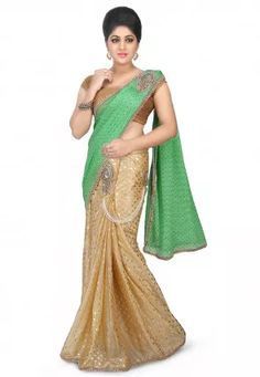 Pre-Stitched Shimmer Lycra Saree in Sea Green and Beige