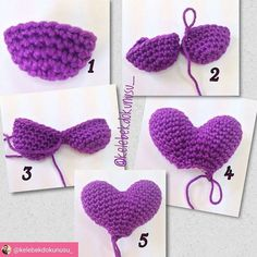 The pattern to make the amigurumi heart balloon is free! The English version is published on Simply Crochet website, here is the link!Crochet Rounds - Most popular and and Crochet Wool, Crochet Doll Pattern, Love Crochet, Crochet Stitches Patterns, Crochet Yarn, Crochet Flowers, Crochet Garland, Crochet Decoration, Diy Embroidery Thread