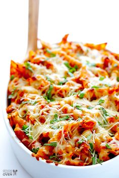 Chicken Parmesan Baked Ziti Recipe INGREDIENTS: 12 ounces DeLallo penne ziti (or any pasta shape) 2 cups shredded, cooked chicken (about Chicken Ziti, Baked Ziti With Chicken, Cooked Chicken, Chicken Parmesean, Chicken Sauce, Oven Chicken, Chicken Meals, Cheesy Chicken, Shredded Chicken