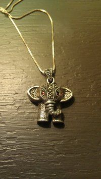 Sterling Silver Elephant Pendant With Sterling Silver Chain $45