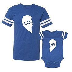 We Match! LO - VE - Two Parts of A Heart = Love Matching Adult Football T-Shirt & Baby Bodysuit Set (12M Bodysuit, Adult Football T-Shirt Medium, Royal) We Match! http://www.amazon.com/dp/B0158MBZRG/ref=cm_sw_r_pi_dp_p0kcwb16216XG