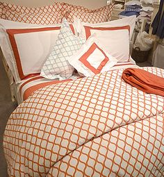 """New """"Andover"""" Bed Linens from Sferra. Love the geometric print and fun colors!"""