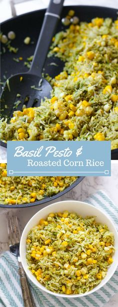 Sweet summer corn is roasted in the oven and combined with fresh basil pesto and jasmine rice. A perfect summer side dish!