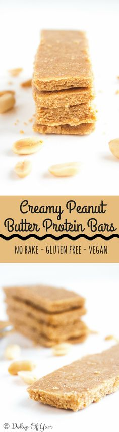 Creamy Peanut Butter Protein Bars. Easy to make and healthy homemade protein bars that taste better than store bought! Vegan, gluten free, no bake bars. 13g of protein per bar