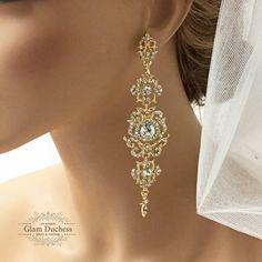 Bridal earrings Bridal bracelet Bridal jewelry set by GlamDuchess
