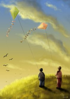 """Kites"" by Jiří Dvorský Go Fly A Kite, Kite Flying, Kite Anime, The Kite Runner, Spring Song, Photo Work, Big Photo, Windy Day, Art Themes"