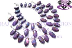 Purple Copper Turquoise Smooth Marquise (Quality AAA) Shape: Marquise Smooth Length: 18 cm Weight Approx: 14 to 16 Grms. Size Approx: 7x16 to 10x18 mm Price $36.00 Each Strand