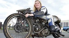 Francie Winteringham at Teretonga on a Burt Munro replica bike used in the film, The World's Fastest Indian.