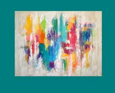 Large Colorful Abstract Painting Acrylic Art in by OraBirenbaumArt, $585.00