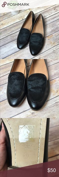 J.Crew Calf Hair Leather Chic Loafers J. Crew Factory black calf hair loafers Size 7.5 Scratch on inner sole, light wear on bottom sole. Faint marker on bottom soles. Overall excellent used condition.  MSRP $118 Smoke free home J. Crew Factory Shoes Flats & Loafers