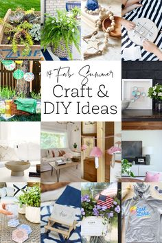 14 fun and easy summer craft and DIY ideas. #summer #diy #craft Diy Craft Projects, Diy Crafts For Kids, Decor Crafts, Diy Home Decor, Summer Diy, Summer Crafts, Summer Ideas, Outdoor Tablecloth, Decoupage