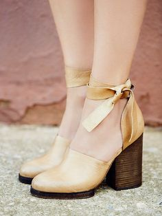 Cora Wrap Heel | Distressed leather block heel shoes with leather ankle wraps.   *By Free People   *Artisan crafted from fine leathers and premium materials, FP Collection shoes are coveted for their signature vintage aesthetic.