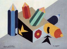 Fortunato Depero (1892-1960, Italy), 1926, Pencil Advertisement Kiosk, Collage, Galleria Fonte d'Abisso, Milan.  ©Eredi Depero #Futurism