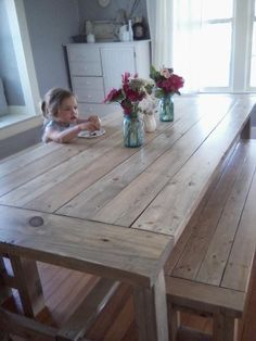 beautiful diy farm table Farmhouse Table Do It Yourself Home Projects from Ana White White Farmhouse Table, Farmhouse Table Plans, Farmhouse Dining Room Table, Farmhouse Decor, Modern Farmhouse, Farmhouse Style, Farmhouse Furniture, Dining Rooms, Farmhouse Remodel