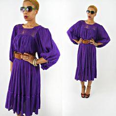 vintage 80s purple BOHO cotton gauze POET sleeve MEXICAN wedding dress by PasseNouveauVintage, $36.00