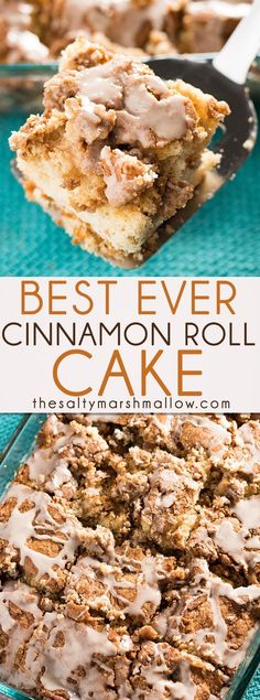 Cinnamon Roll Cake -  The best ever cinnamon roll cake that is perfect for breakfast with a cup of coffee, but also a great crowd pleasing dessert!  This cake is super soft and moist, has a gooey cinnamon brown sugar swirl, and is easy as can be to whip up in no time! The best easy cake to enjoy during the holidays!