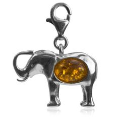 Sterling Silver Amber Ladies Elephant Charm