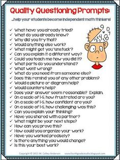 I'm putting this in my id badge! All Things Upper Elementary: Teaching Them How to Think By Asking the Right Questions! Teaching Strategies, Teaching Tips, Teaching Math, Maths, Inquiry Based Learning, Kindergarten Math, Solution Focused Therapy, Elementary Math, Upper Elementary