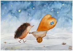 Children Wall Art  Hedgehog & Heart nursery fine art by ucuspucus, $34.00