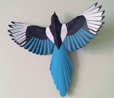 Animal Paper Model - Magpie Free Bird Papercraft Download