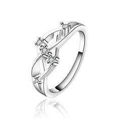 * Penny Deals * - HMILYDYK Jewelry Womens Sterling Silver Plated Cubic Zirconia Cz Fashion Weave Couples Eternity Ring 925 >>> More info could be found at the image url.