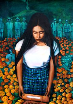 """""""Seeding Mourning"""" is based on a Pipil tradition of a mother's mourning of her still born child.  In the painting a Nahuat-Pipil woman kneels in front of her child's tomb and places in the earth a bamboo junction she has filled with her breast milk."""
