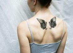 wings black and white vintage angel bird temporary tattoo by Pepperink on Etsy I'd want this, but larger. And on my shoulder blades, please. Small Tattoo Placement, Small Quote Tattoos, Small Tattoos With Meaning, Cute Small Tattoos, Unique Tattoos, Tattoo Small, Nerdy Tattoos, Amazing Tattoos, Tattoo Paper