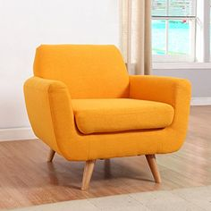 Mid Century style accent chair constructed with a hardwood frame and a soft linen upholstery with natural wooden legs. The soft linen upholstery material provides comfort and durability. Cushions are Living Room Accents, Accent Chairs For Living Room, Accent Furniture, Modern Furniture, Furniture Chairs, Diy Furniture, Yellow Accent Chairs, Living Room Images, Living Rooms