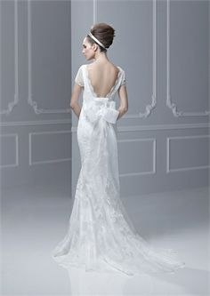 Gorgeous mermaid off-the-shoulder v-neck with short sleeves lace 2013 Wedding Dresses EWD096