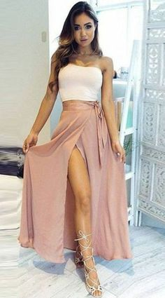 A-Line Two Piece Strapless Ankle-Length High Split Sleeveless Pink Chiffon Prom Dresses uk,#twopiece#chiffon#white#pink#promdress#slit