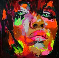 neon paint portrait