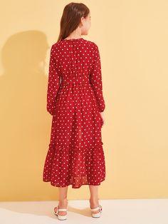 Girls Polka-dot Print Frill Trim Belted Dress   SHEIN