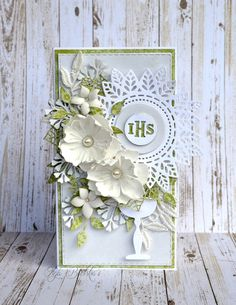 Kartka na Pierwszą Komunię Świętą - DT Craft Passion First Communion Cards, First Holy Communion, Flower Cards, Paper Flowers, Memory Box Cards, Mixed Media Cards, Anna Griffin Cards, Flower Tutorial, Card Tags