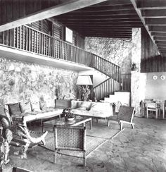 Vista interior, casa particular de Mario Pani en Acapulco. Muebles diseñados por Clara Porset, Acapulco, Guerrero, Mexico 1953 -  Interior view of Mario Pani's house in Acapulco.  Furniture designed by Clara Porset.  Acapulco, Guerrero, Mexico 1953
