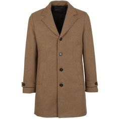 Palto Single Breasted Coat ($545) ❤ liked on Polyvore featuring men's fashion, men's clothing, men's outerwear, men's coats, brown, mens brown coat and mens single breasted pea coat