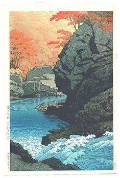 Tengu Rock, Shiobara — Kawase Hasui (1950)