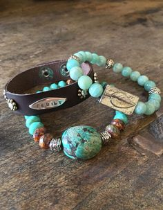 nice Turquoise Stretch Knotted Bracelet Bohemian Beaded Jewelry by Two Silver Sisters twosilversisters
