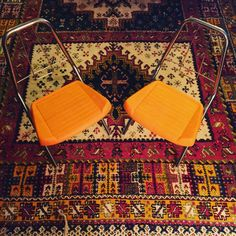 Pair of Modern Retro Orange & Chrome Kids by GreatLakesModern
