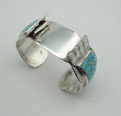 Vintage Turquoise Inlay Sterling Silver Watch Cuff Bracelet Southwest Native American  #NACFWB-CF1